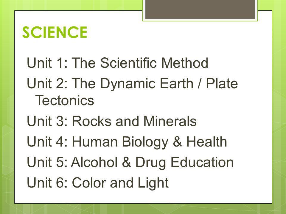 SCIENCE Unit 1: The Scientific Method Unit 2: The Dynamic Earth / Plate Tectonics Unit 3: Rocks and Minerals Unit 4: Human Biology & Health Unit 5: Al