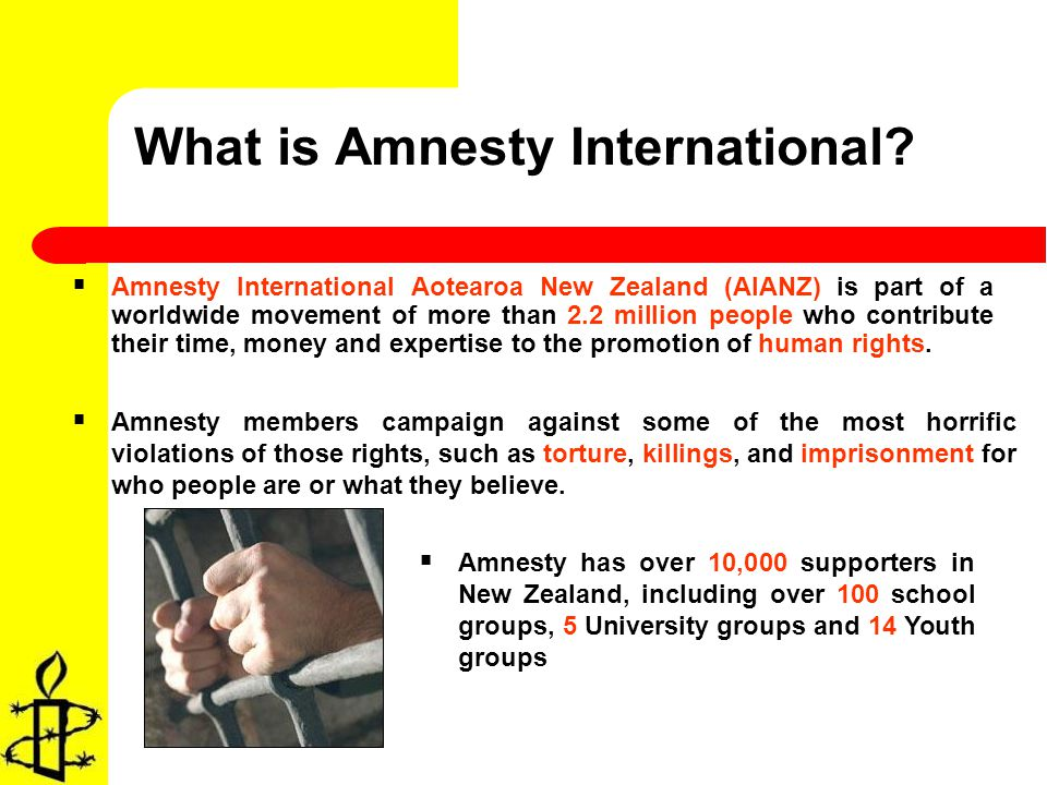 Amnesty International Aotearoa New Zealand (AIANZ) is part of a worldwide movement of more than 2.2 million people who contribute their time, money and expertise to the promotion of human rights.