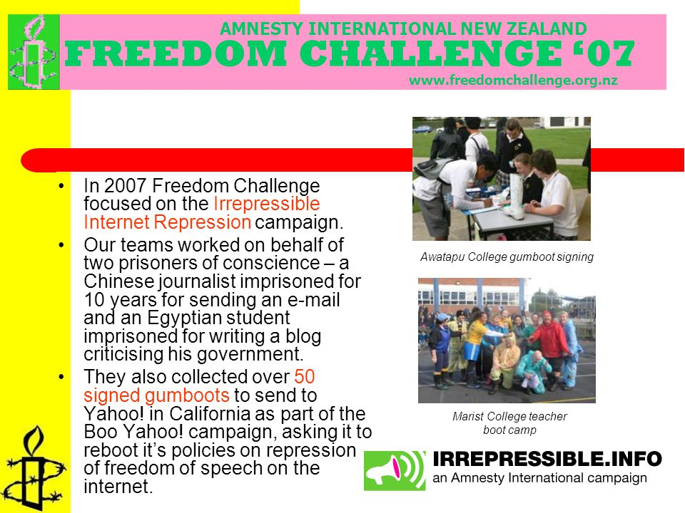 In 2007 Freedom Challenge focused on the Irrepressible Internet Repression campaign.