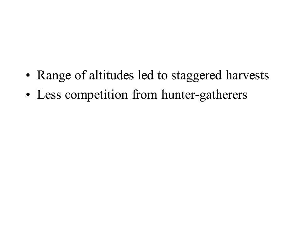 Range of altitudes led to staggered harvests Less competition from hunter-gatherers