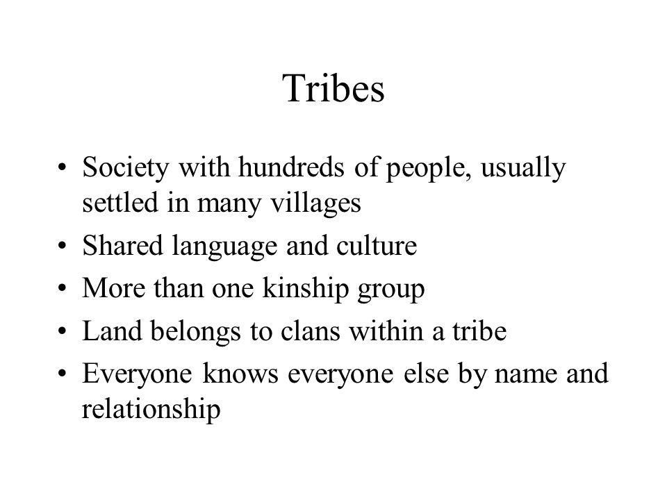 Tribes Society with hundreds of people, usually settled in many villages Shared language and culture More than one kinship group Land belongs to clans