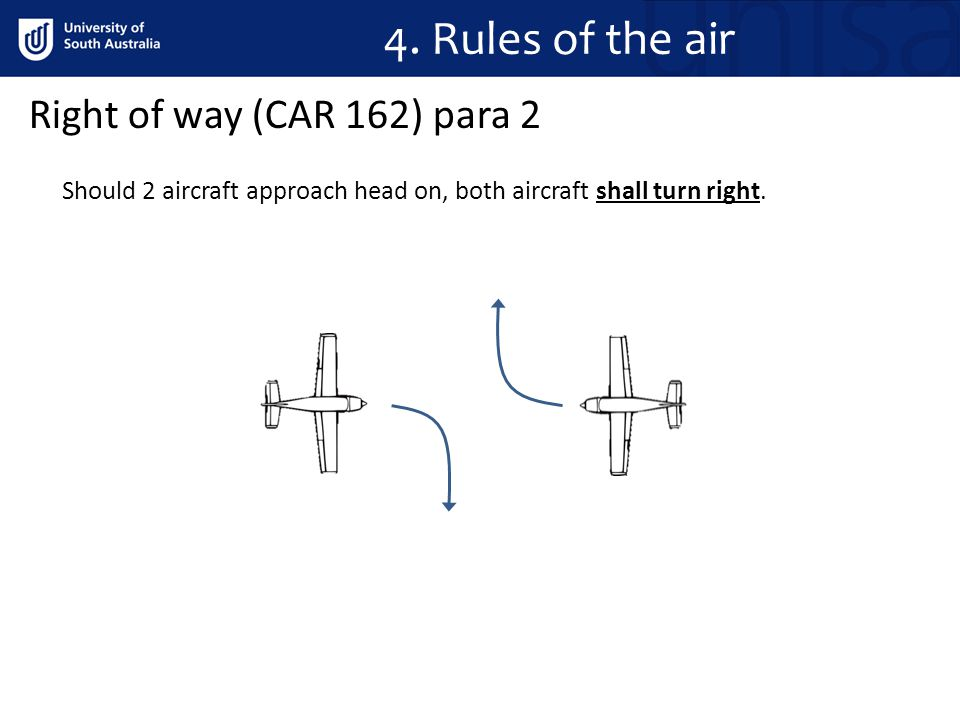 4.Rules of the air Should 2 aircraft approach head on, both aircraft shall turn right.