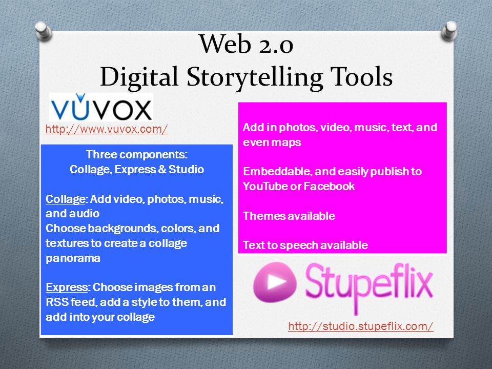 Web 2.0 Digital Storytelling Tools Three components: Collage, Express & Studio Collage: Add video, photos, music, and audio Choose backgrounds, colors, and textures to create a collage panorama Express: Choose images from an RSS feed, add a style to them, and add into your collage http://www.vuvox.com/ http://studio.stupeflix.com/ Add in photos, video, music, text, and even maps Embeddable, and easily publish to YouTube or Facebook Themes available Text to speech available