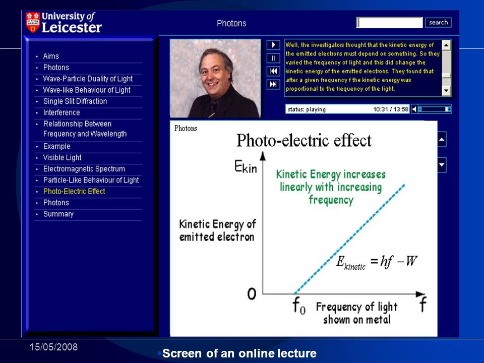 15/05/2008 Screen of an online lecture