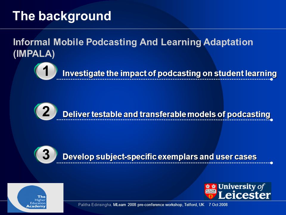 The background 3 1 Informal Mobile Podcasting And Learning Adaptation (IMPALA) Investigate the impact of podcasting on student learning 3 2 Deliver te