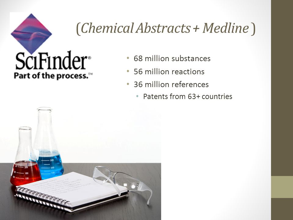 (Chemical Abstracts + Medline ) 68 million substances 56 million reactions 36 million references Patents from 63+ countries