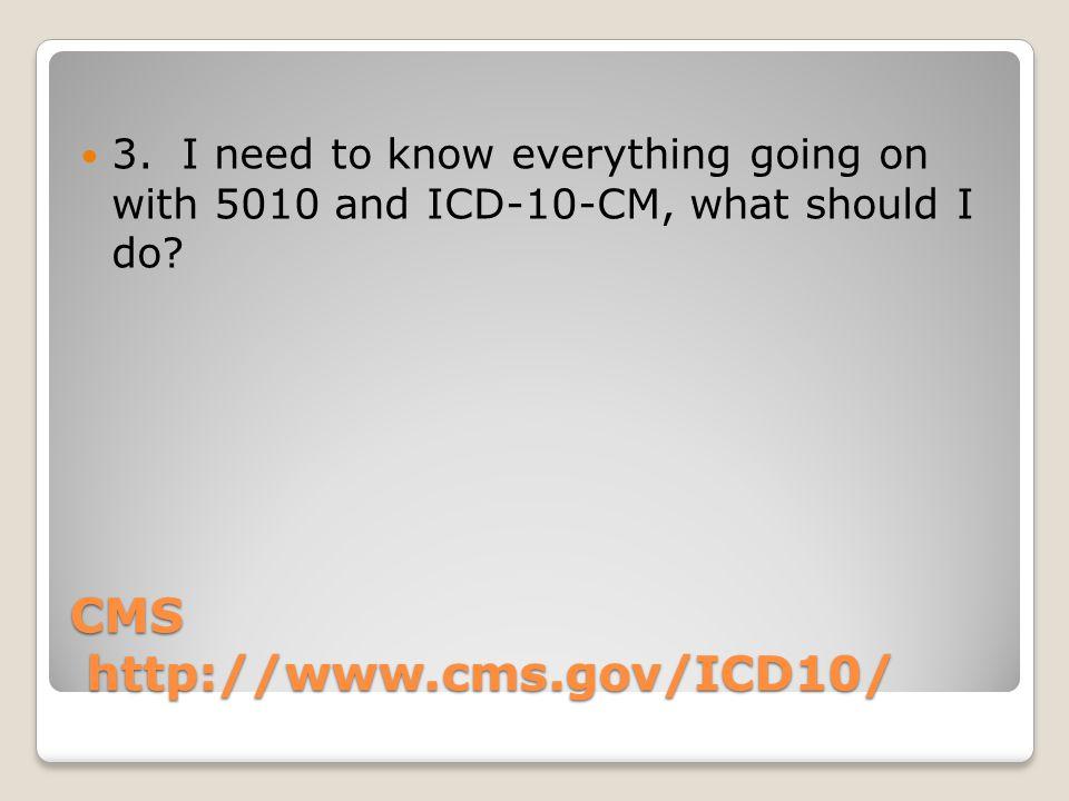 CMS http://www.cms.gov/ICD10/ 3.
