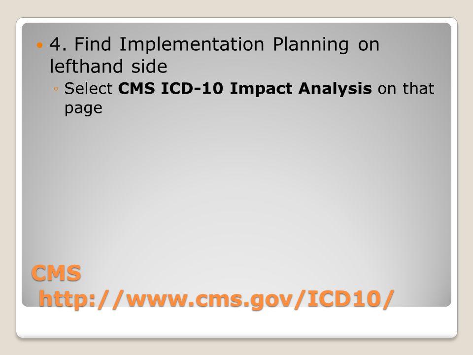 CMS http://www.cms.gov/ICD10/ 4.