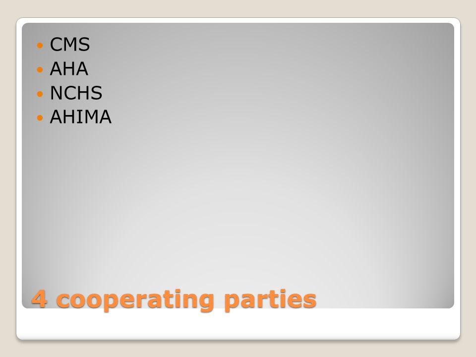 4 cooperating parties CMS AHA NCHS AHIMA