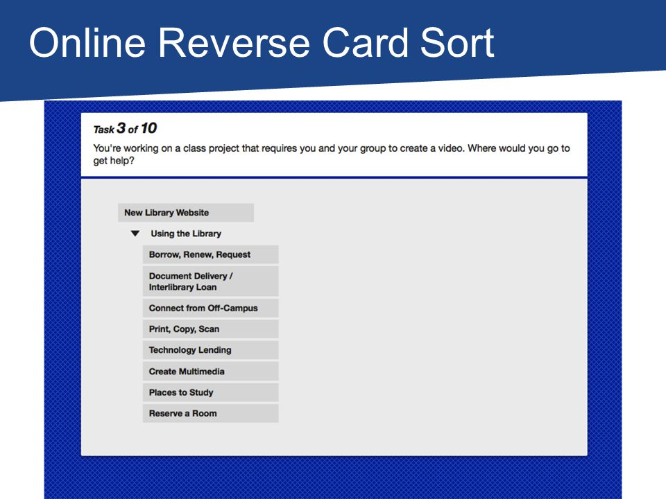 Online Reverse Card Sort