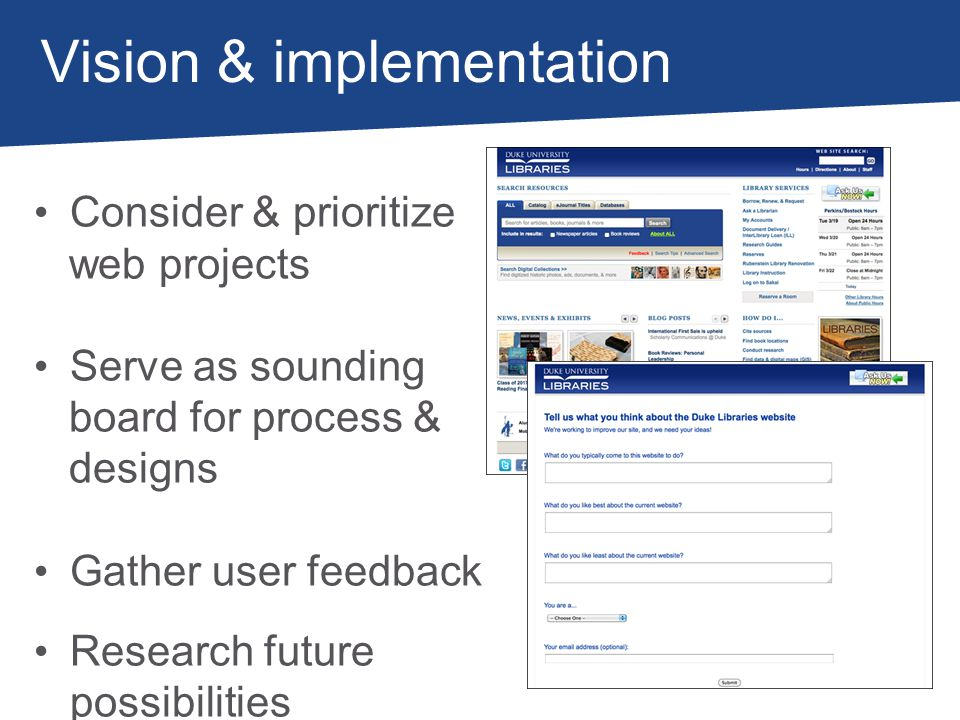 Vision & implementation Consider & prioritize web projects Serve as sounding board for process & designs Gather user feedback Research future possibilities