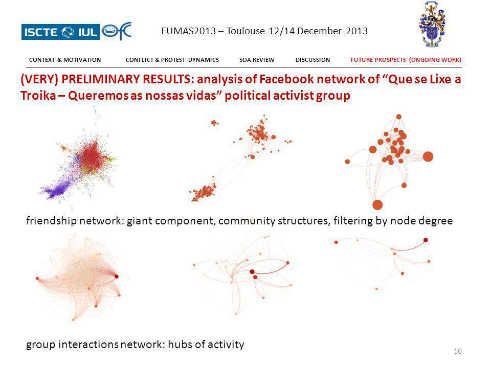 16 (VERY) PRELIMINARY RESULTS: analysis of Facebook network of Que se Lixe a Troika – Queremos as nossas vidas political activist group friendship net