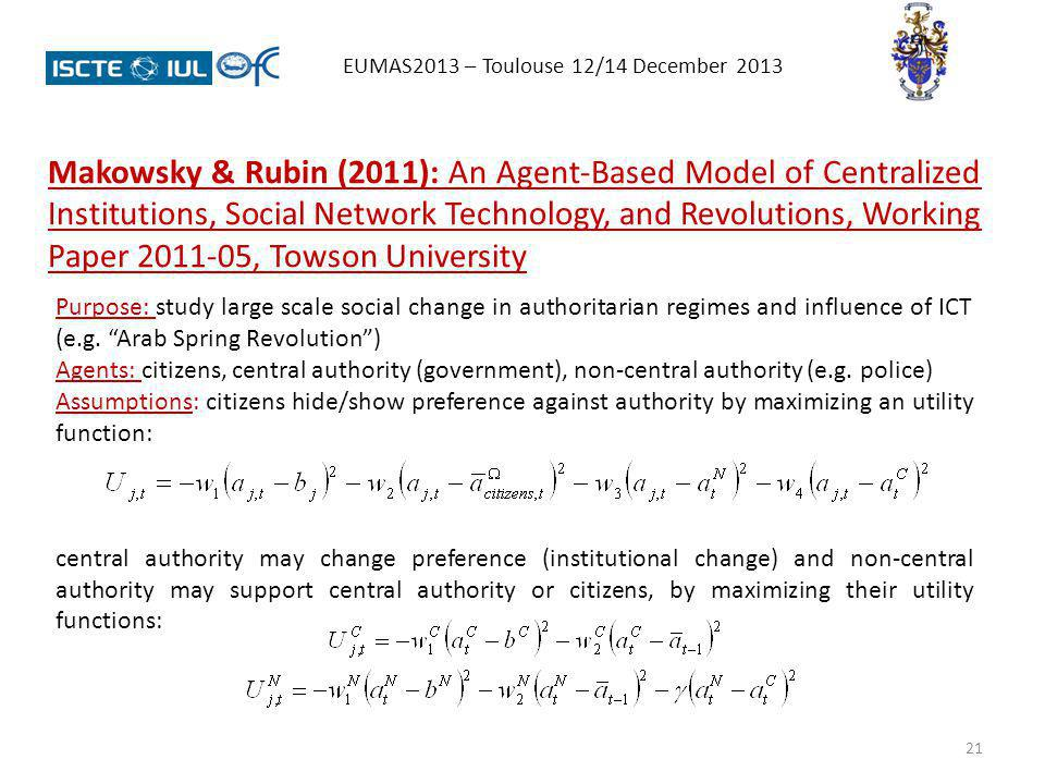 21 EUMAS2013 – Toulouse 12/14 December 2013 Makowsky & Rubin (2011): An Agent-Based Model of Centralized Institutions, Social Network Technology, and