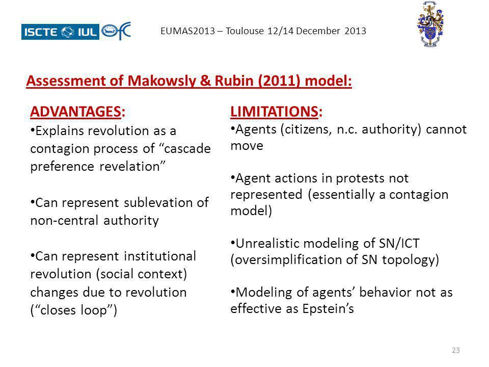23 EUMAS2013 – Toulouse 12/14 December 2013 Assessment of Makowsly & Rubin (2011) model: ADVANTAGES: Explains revolution as a contagion process of cas