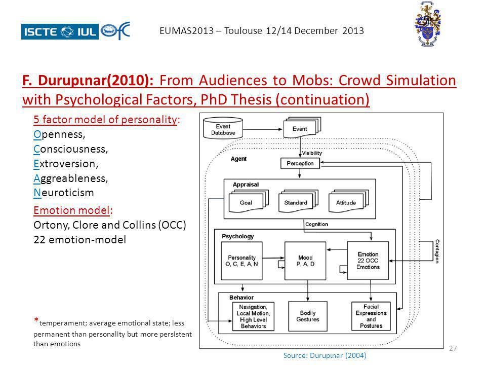 27 EUMAS2013 – Toulouse 12/14 December 2013 F. Durupɩnar(2010): From Audiences to Mobs: Crowd Simulation with Psychological Factors, PhD Thesis (conti