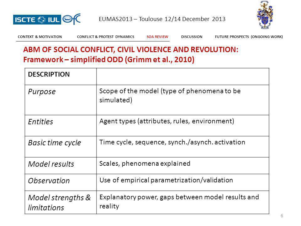 REVIEW: Seven models Civil violence Worker protest Riots Urban crime Revolution Guerrilla warfare 7 EUMAS2013 – Toulouse 12/14 December 2013 CONTEXT & MOTIVATIONCONFLICT & PROTEST DYNAMICSSOA REVIEWDISCUSSIONFUTURE PROSPECTS (ONGOING WORK)
