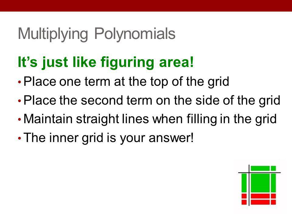 Multiplying Polynomials Its just like figuring area! Place one term at the top of the grid Place the second term on the side of the grid Maintain stra