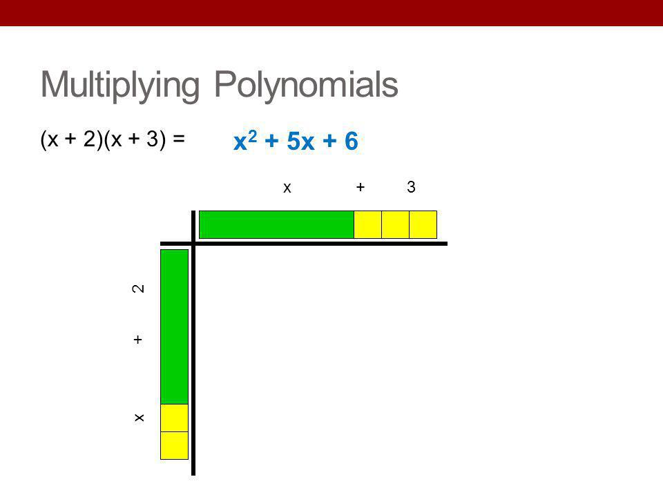 Multiplying Polynomials (x + 2)(x + 3) = x + 3 x + 2 x 2 + 5x + 6