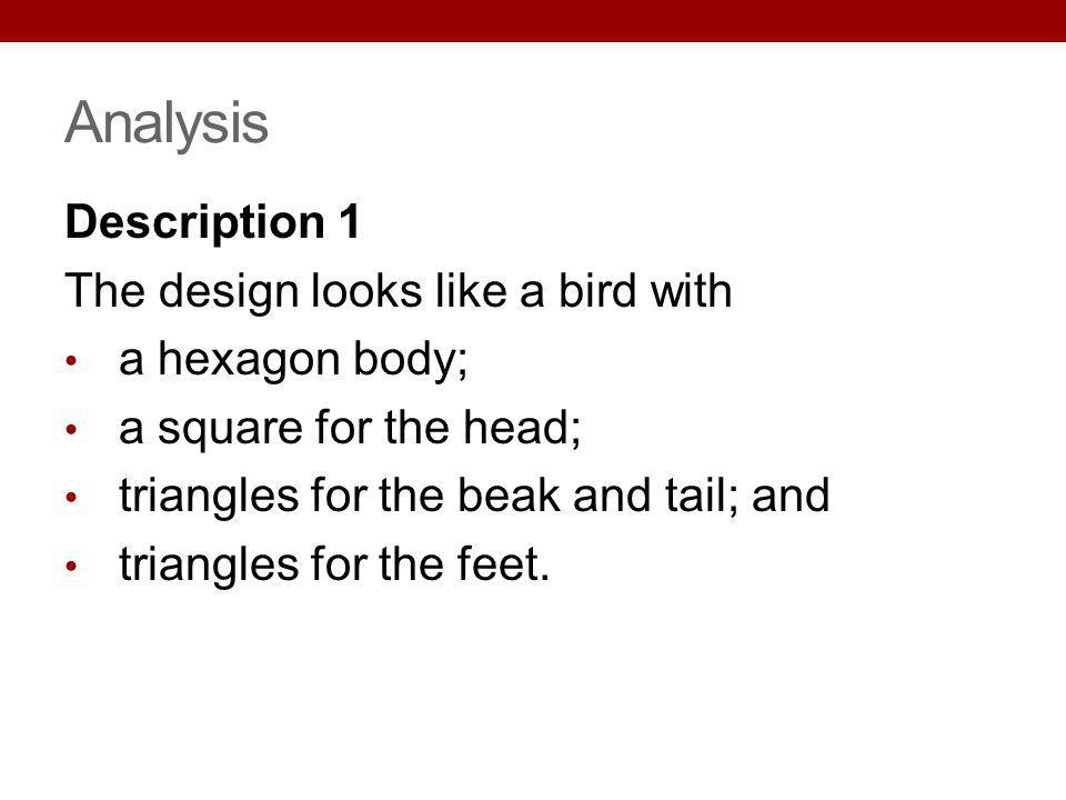 Analysis Description 1 The design looks like a bird with a hexagon body; a square for the head; triangles for the beak and tail; and triangles for the