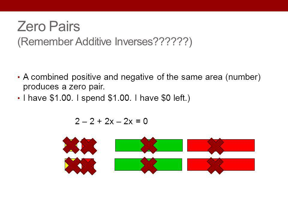 Zero Pairs (Remember Additive Inverses??????) A combined positive and negative of the same area (number) produces a zero pair. I have $1.00. I spend $