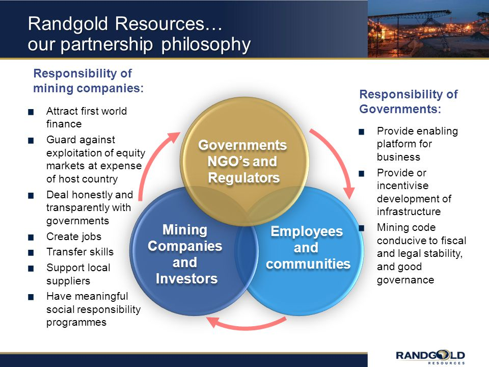 Randgold Resources… our partnership philosophy Mining Companies and Investors Mining Companies and Investors Employees and communities Employees and communities Governments NGOs and Regulators Governments NGOs and Regulators Provide enabling platform for business Provide or incentivise development of infrastructure Mining code conducive to fiscal and legal stability, and good governance Responsibility of mining companies: Responsibility of Governments: Attract first world finance Guard against exploitation of equity markets at expense of host country Deal honestly and transparently with governments Create jobs Transfer skills Support local suppliers Have meaningful social responsibility programmes