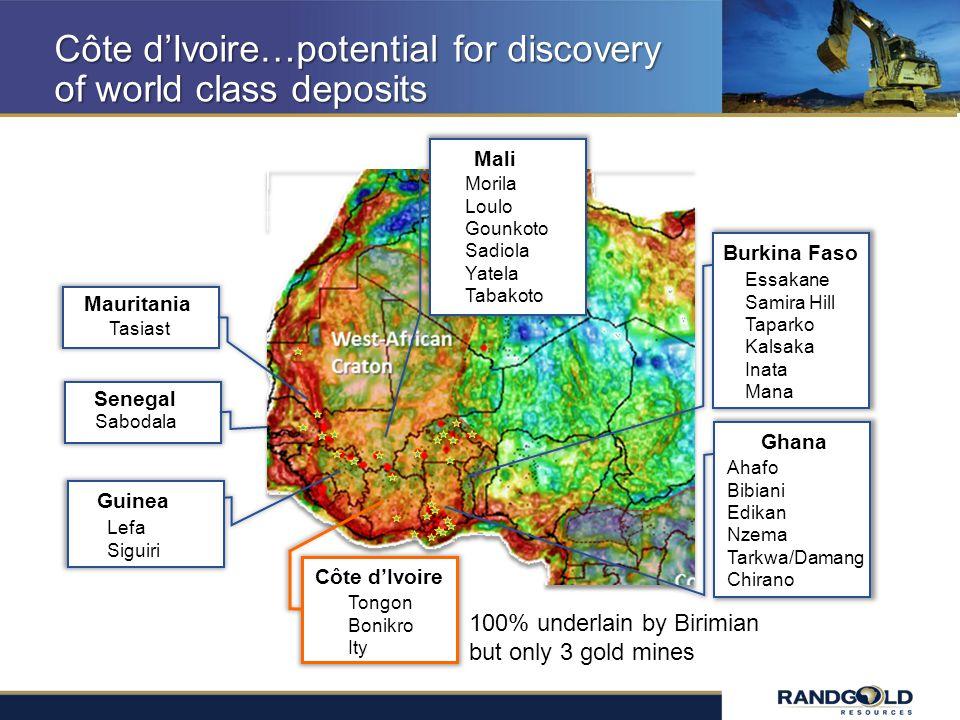 Côte dIvoire…potential for discovery of world class deposits Burkina Faso Essakane Samira Hill Taparko Kalsaka Inata Mana Ghana Ahafo Bibiani Edikan N
