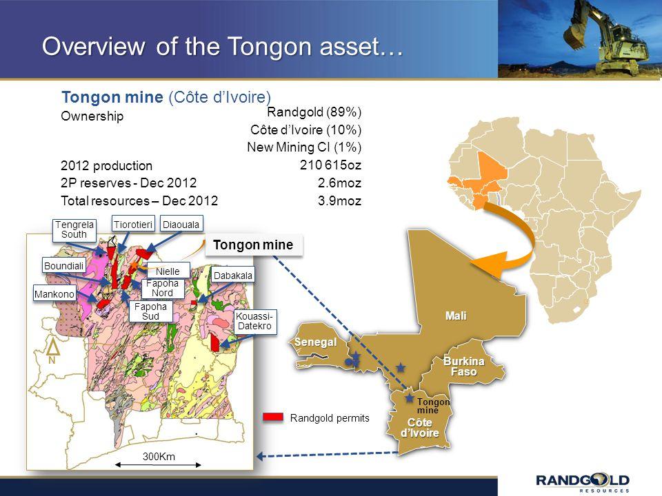 Overview of the Tongon asset… Tongon mine (Côte dIvoire) Ownership 2012 production 2P reserves - Dec 2012 Total resources – Dec 2012 Randgold (89%) Cô