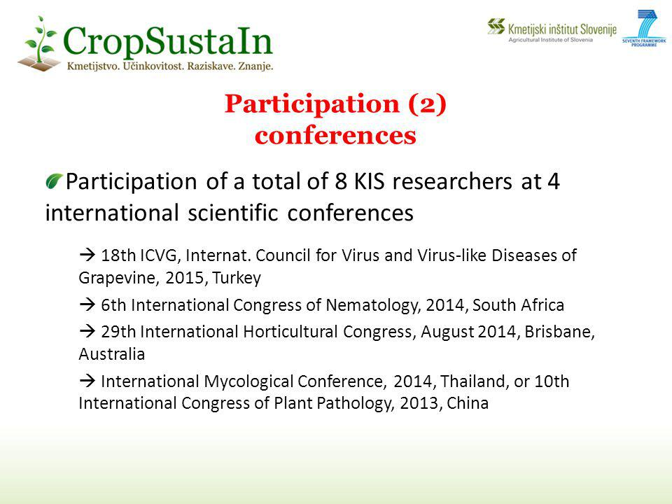 Participation of a total of 8 KIS researchers at 4 international scientific conferences 18th ICVG, Internat.