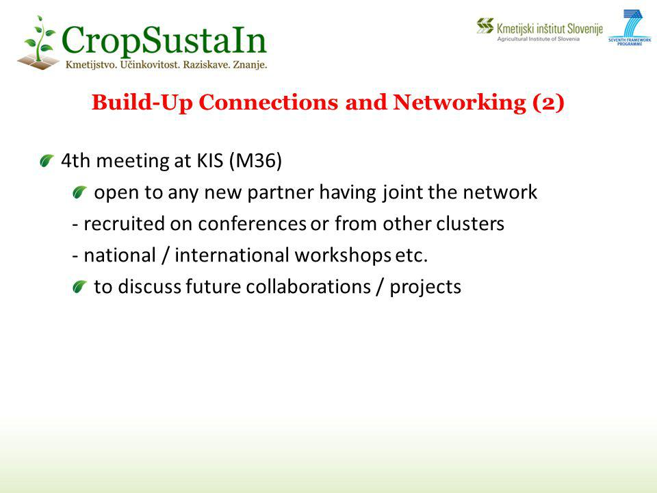 4th meeting at KIS (M36) open to any new partner having joint the network - recruited on conferences or from other clusters - national / international workshops etc.
