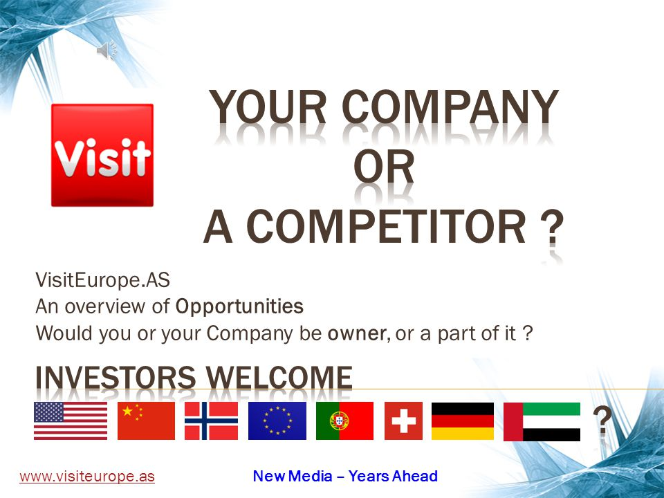 VisitEurope.AS An overview of Opportunities Would you or your Company be owner, or a part of it .