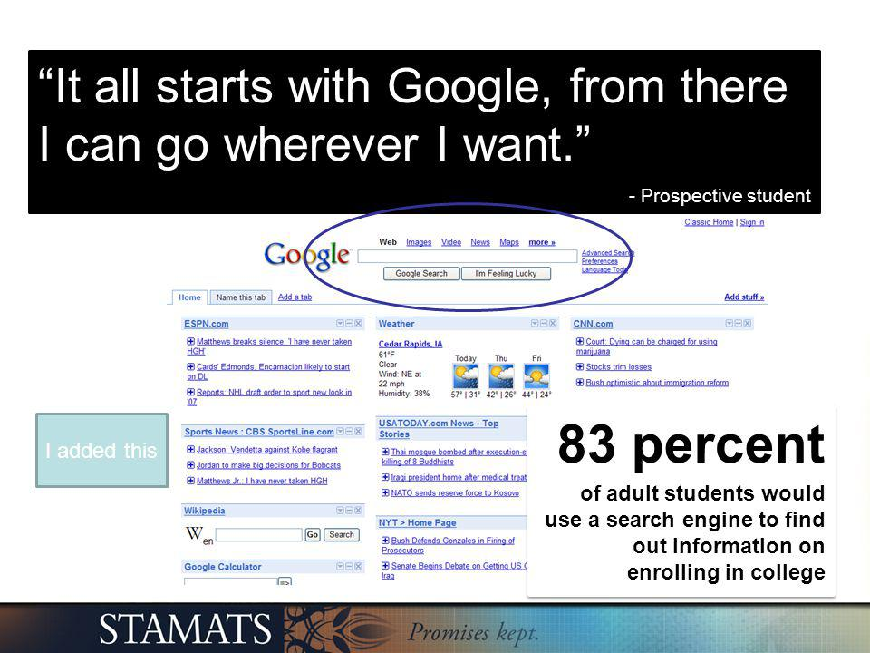It all starts with Google, from there I can go wherever I want. - Prospective student 83 percent of adult students would use a search engine to find o