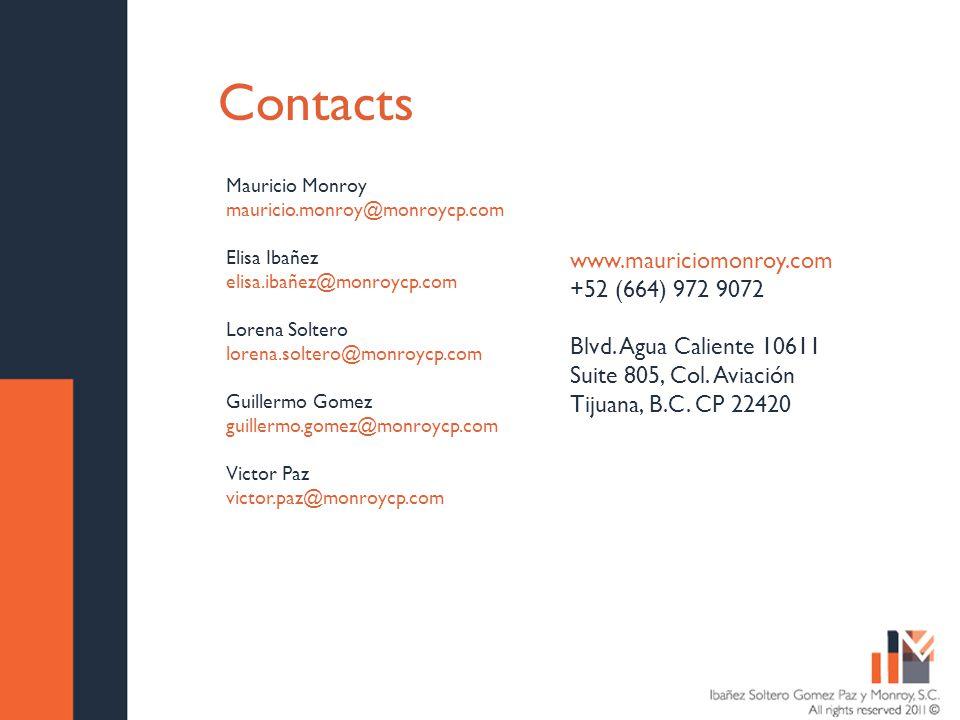 Contacts Mauricio Monroy mauricio.monroy@monroycp.com Elisa Ibañez elisa.ibañez@monroycp.com Lorena Soltero lorena.soltero@monroycp.com Guillermo Gomez guillermo.gomez@monroycp.com Victor Paz victor.paz@monroycp.com www.mauriciomonroy.com +52 (664) 972 9072 Blvd.