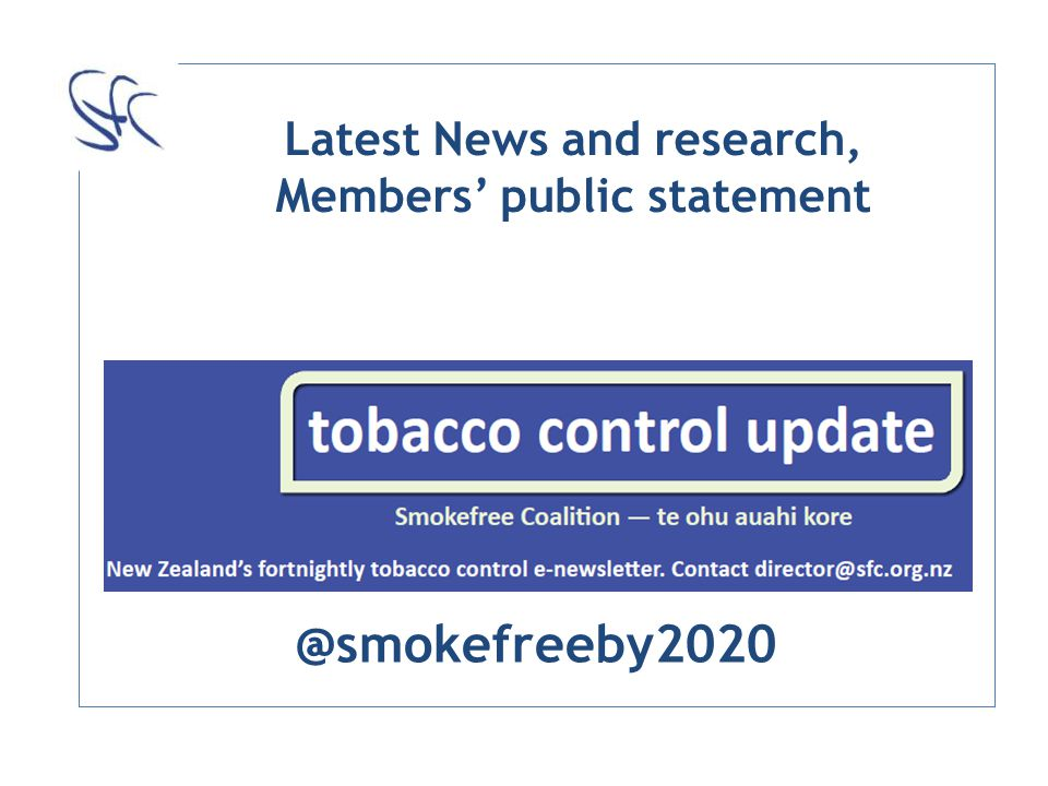 Latest News and research, Members public statement @smokefreeby2020