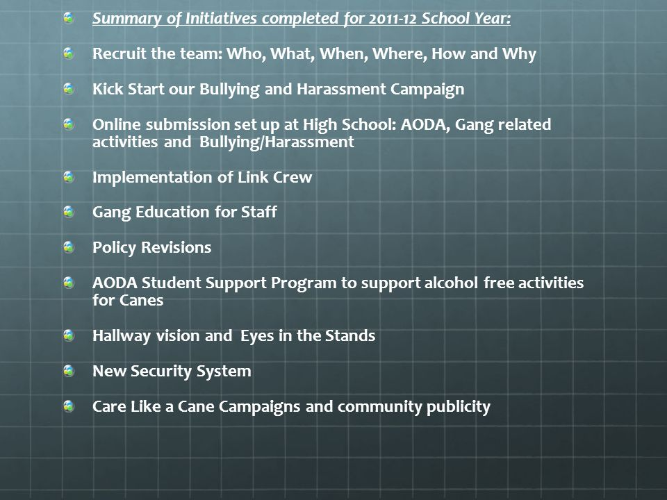 Summary of Initiatives completed for 2011-12 School Year: Recruit the team: Who, What, When, Where, How and Why Kick Start our Bullying and Harassment Campaign Online submission set up at High School: AODA, Gang related activities and Bullying/Harassment Implementation of Link Crew Gang Education for Staff Policy Revisions AODA Student Support Program to support alcohol free activities for Canes Hallway vision and Eyes in the Stands New Security System Care Like a Cane Campaigns and community publicity