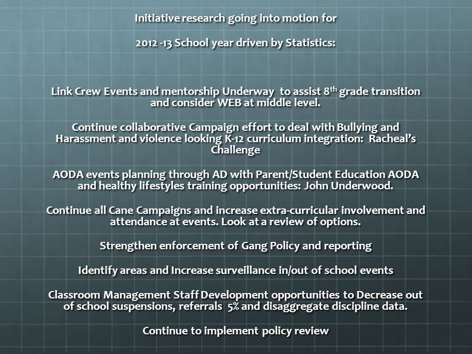 Initiative research going into motion for 2012 -13 School year driven by Statistics: Link Crew Events and mentorship Underway to assist 8 th grade transition and consider WEB at middle level.