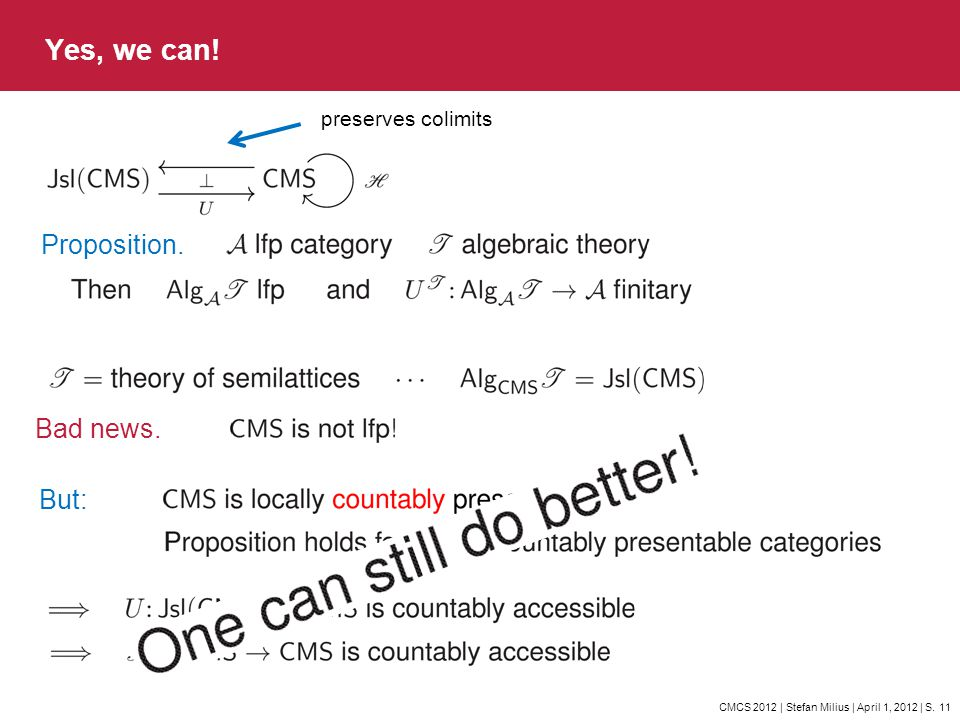 CMCS 2012 | Stefan Milius | April 1, 2012 | S. 11 Yes, we can! Proposition. preserves colimits Bad news. But: