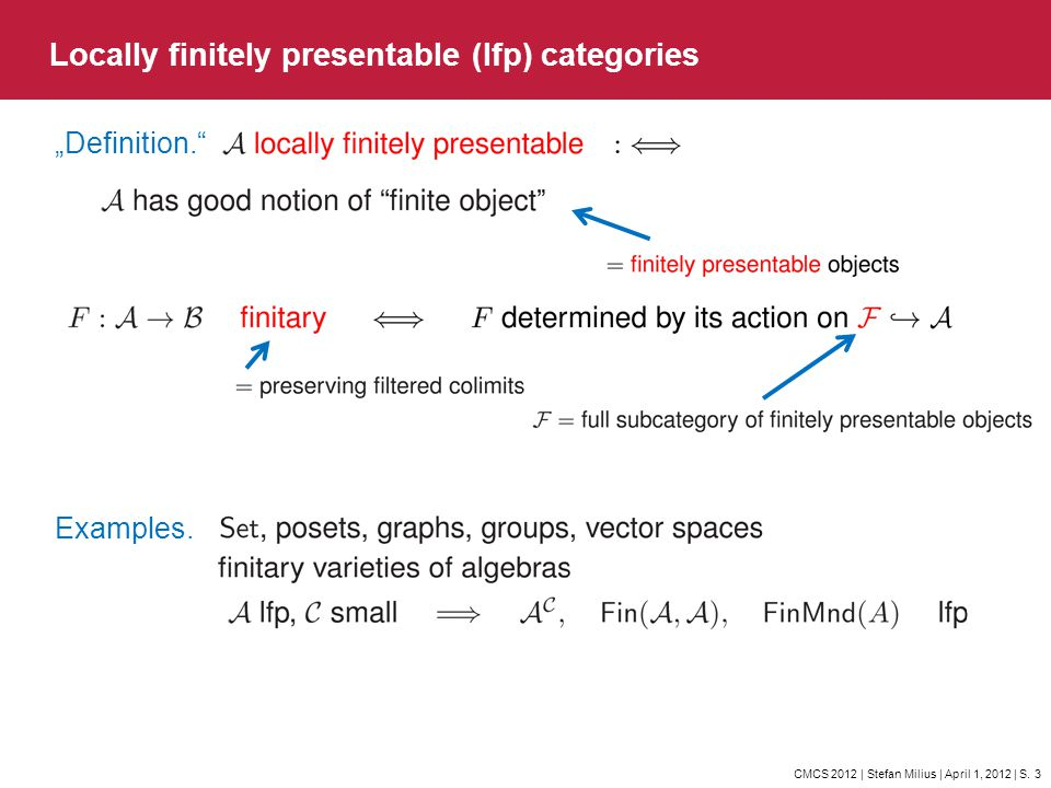 CMCS 2012 | Stefan Milius | April 1, 2012 | S. 3 Locally finitely presentable (lfp) categories Definition. Examples.