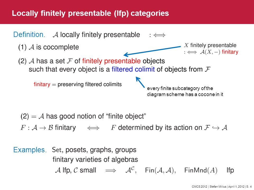 CMCS 2012 | Stefan Milius | April 1, 2012 | S. 4 Locally finitely presentable (lfp) categories Definition. every finite subcategory of the diagram sch