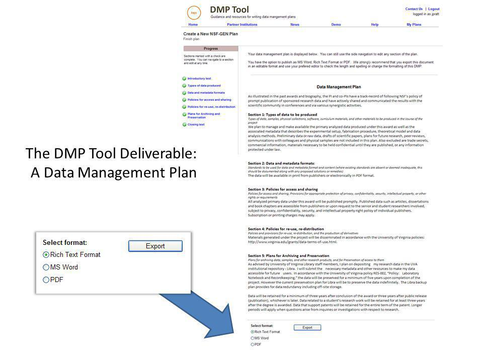 The DMP Tool Deliverable: A Data Management Plan