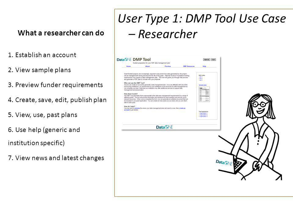 What a researcher can do User Type 1: DMP Tool Use Case – Researcher 1.Establish an account 2.View sample plans 3.Preview funder requirements 4.Create