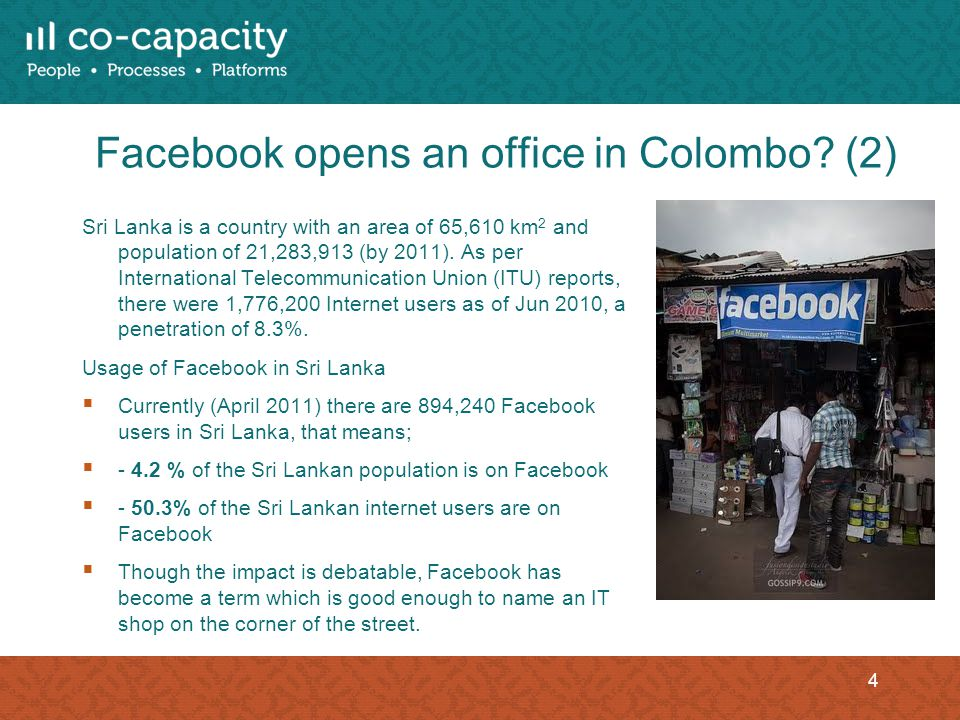 Facebook opens an office in Colombo.