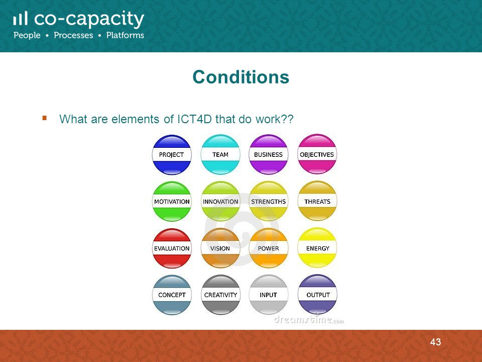 Conditions What are elements of ICT4D that do work?? 43