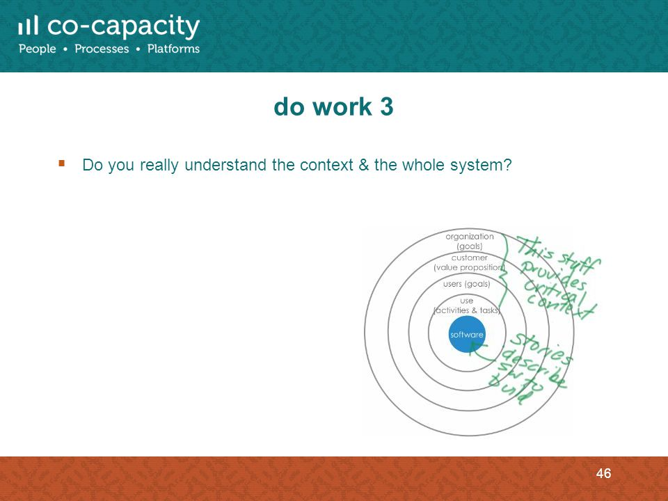 do work 3 Do you really understand the context & the whole system? 46