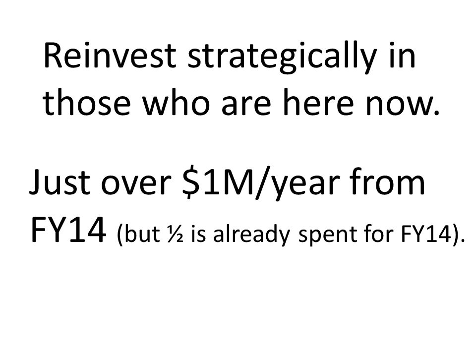 Reinvest strategically in those who are here now.
