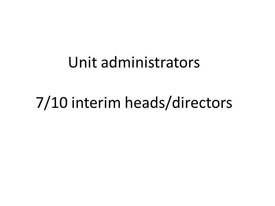 Unit administrators 7/10 interim heads/directors