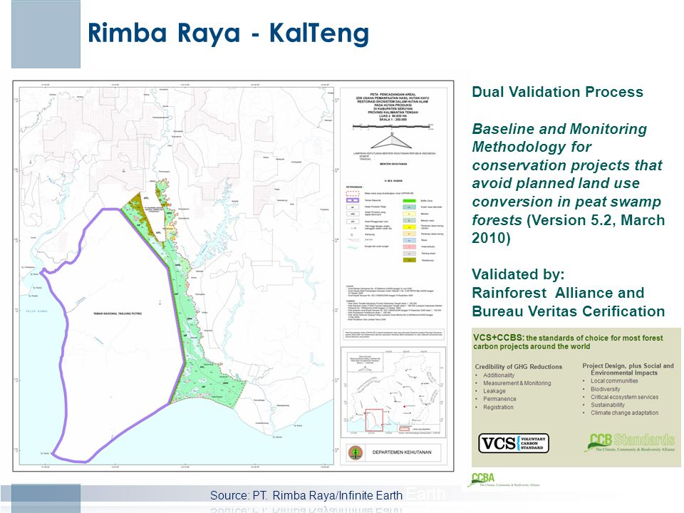 Rimba Raya - KalTeng Dual Validation Process Baseline and Monitoring Methodology for conservation projects that avoid planned land use conversion in peat swamp forests (Version 5.2, March 2010) Validated by: Rainforest Alliance and Bureau Veritas Cerification
