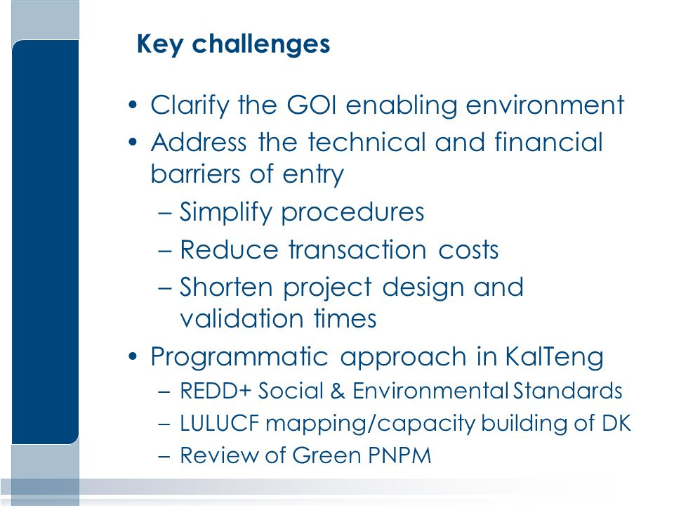Key challenges Clarify the GOI enabling environment Address the technical and financial barriers of entry –Simplify procedures –Reduce transaction costs –Shorten project design and validation times Programmatic approach in KalTeng –REDD+ Social & Environmental Standards –LULUCF mapping/capacity building of DK –Review of Green PNPM