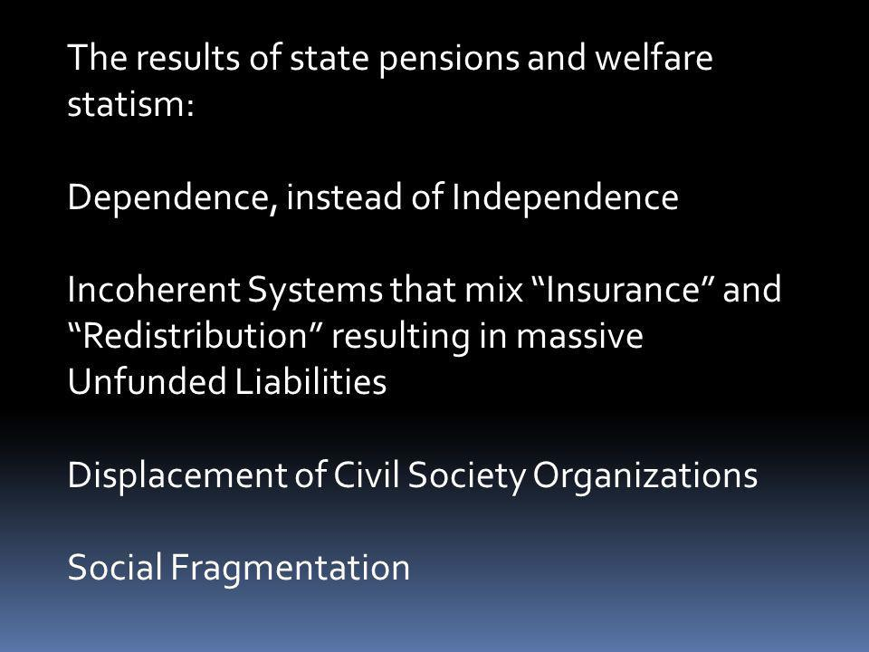 The results of state pensions and welfare statism: Dependence, instead of Independence Incoherent Systems that mix Insurance and Redistribution result