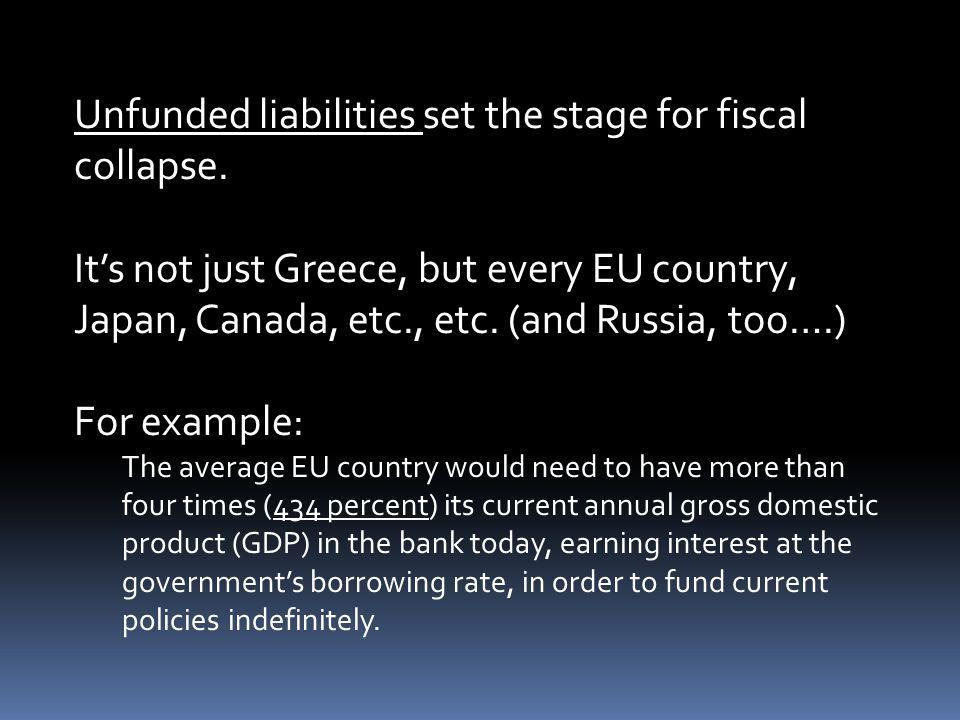 Unfunded liabilities set the stage for fiscal collapse. Its not just Greece, but every EU country, Japan, Canada, etc., etc. (and Russia, too….) For e