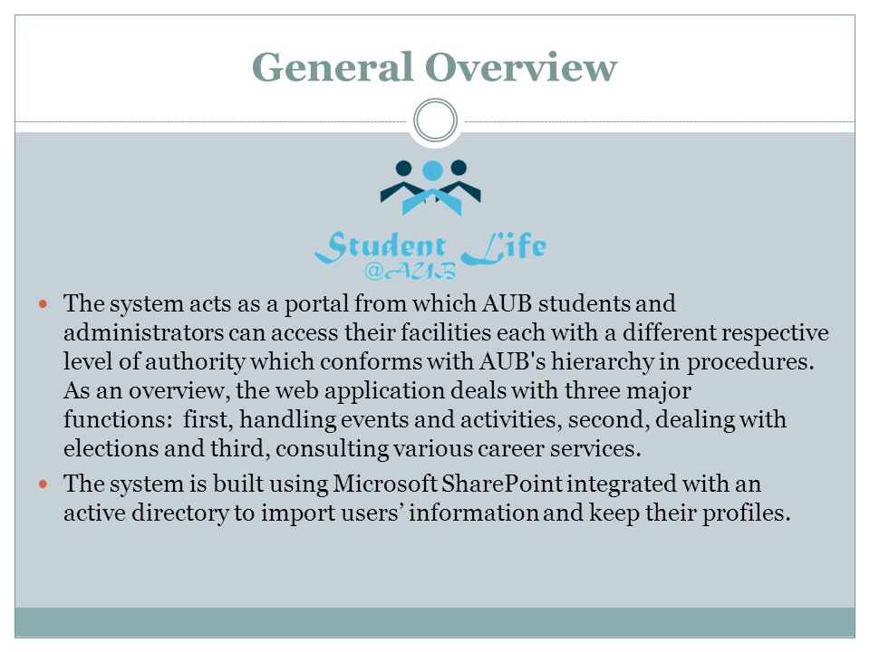 General Overview The system acts as a portal from which AUB students and administrators can access their facilities each with a different respective level of authority which conforms with AUB s hierarchy in procedures.